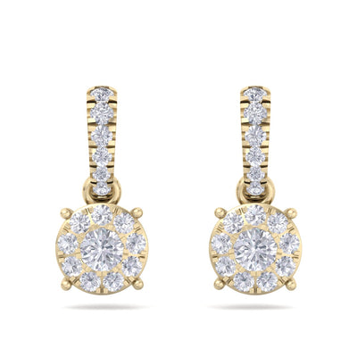 Classic earrings in yellow gold with white diamonds of 0.51 ct in weight - HER DIAMONDS®