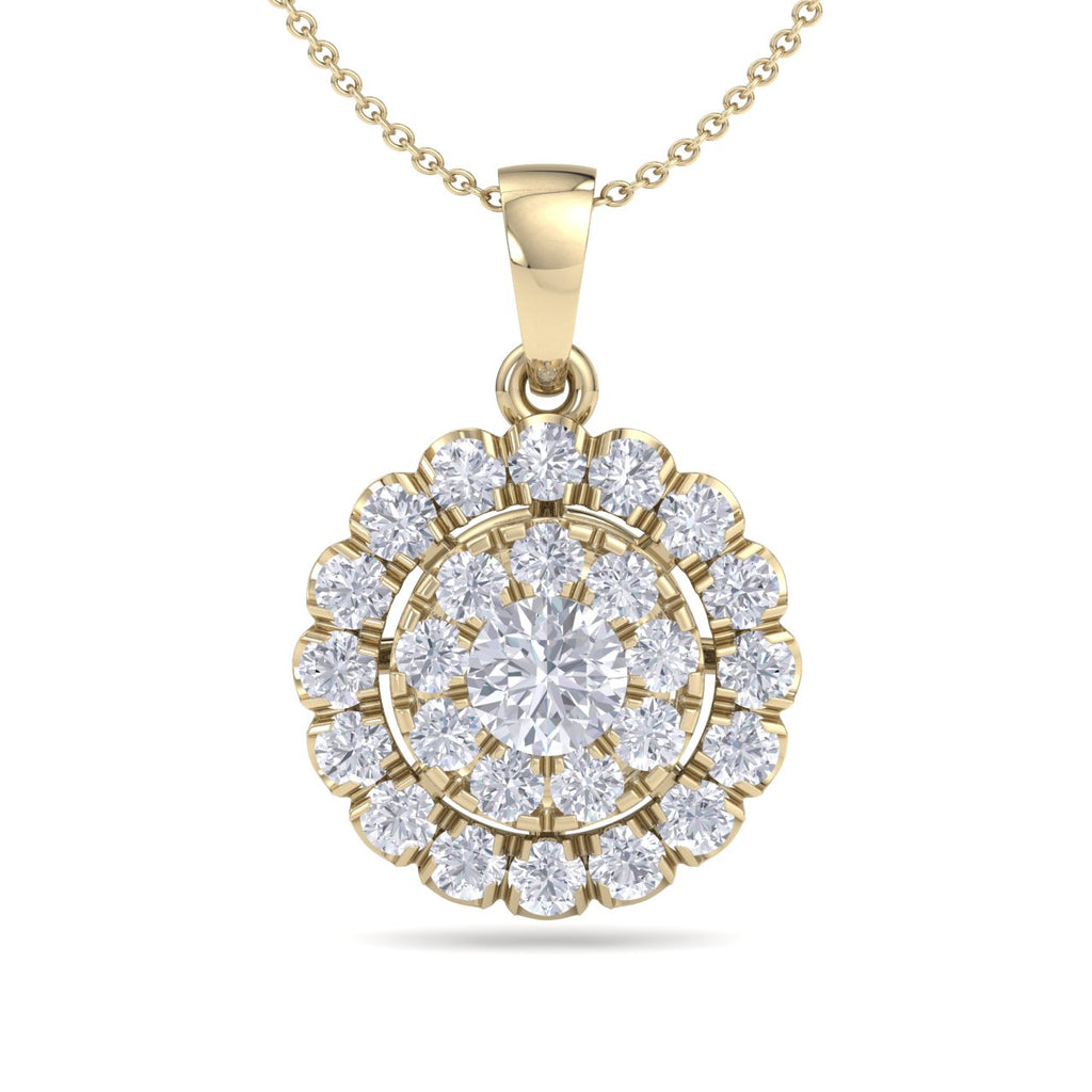 Round pendant necklace in yellow gold with white diamonds of 0.71 ct in weight - HER DIAMONDS®