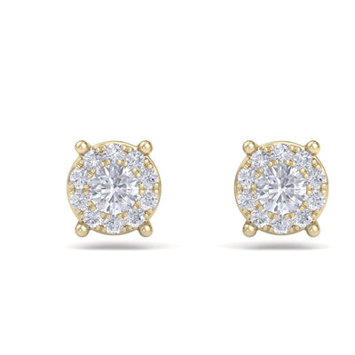 Solitaire stud earrings in yellow gold with white diamonds of 0.23 ct in weight - HER DIAMONDS®