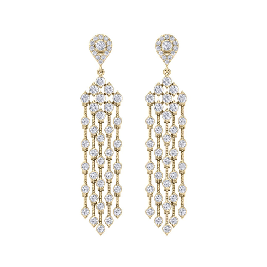 Chandelier earrings in yellow gold with white diamonds of 4.09 ct in weight