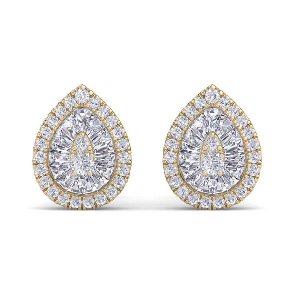 Drop shaped earrings in yellow gold with white diamonds of 0.47 ct in weight - HER DIAMONDS®
