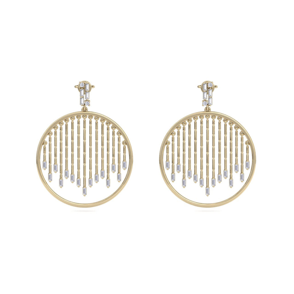Monogram earrings in yellow gold with white diamonds of 1.10 ct in weight - HER DIAMONDS®