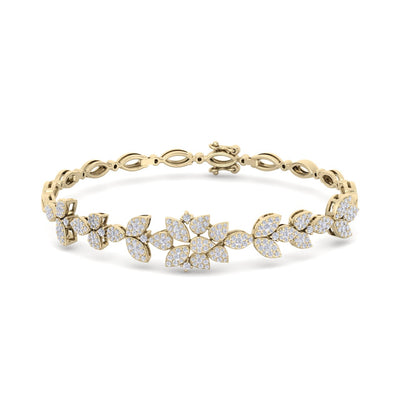 """The Garden"" bracelet in yellow gold with white diamonds of 1.60 ct in weight - HER DIAMONDS®"