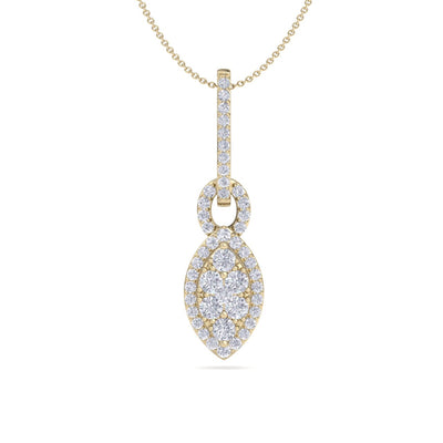 Marquise shaped drop pendant necklace in yellow gold with white diamonds of 0.48 ct in weight - HER DIAMONDS®