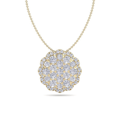 Round shape pendant in yellow gold with white diamonds of 0.89 ct in weight - HER DIAMONDS®