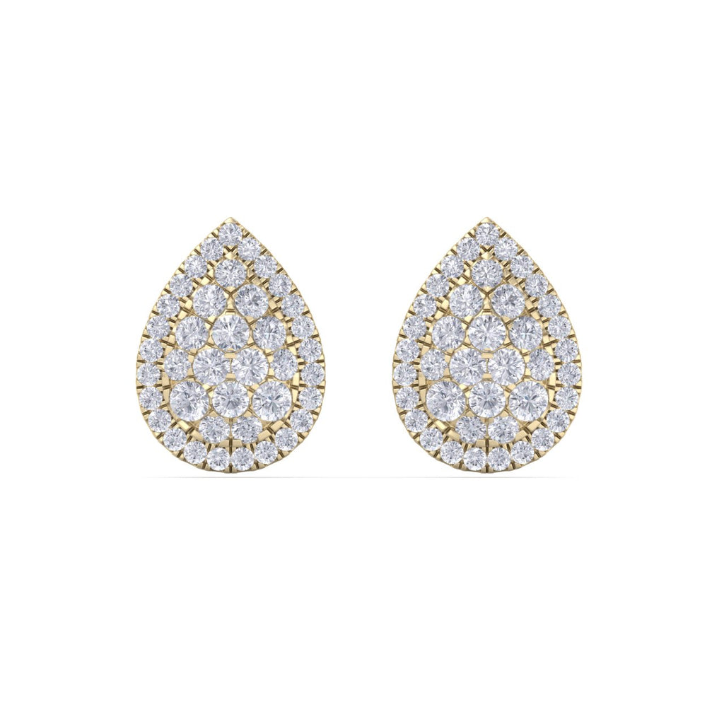 Pear shaped stud earrings in yellow gold with white diamonds of 1.01 ct in weight