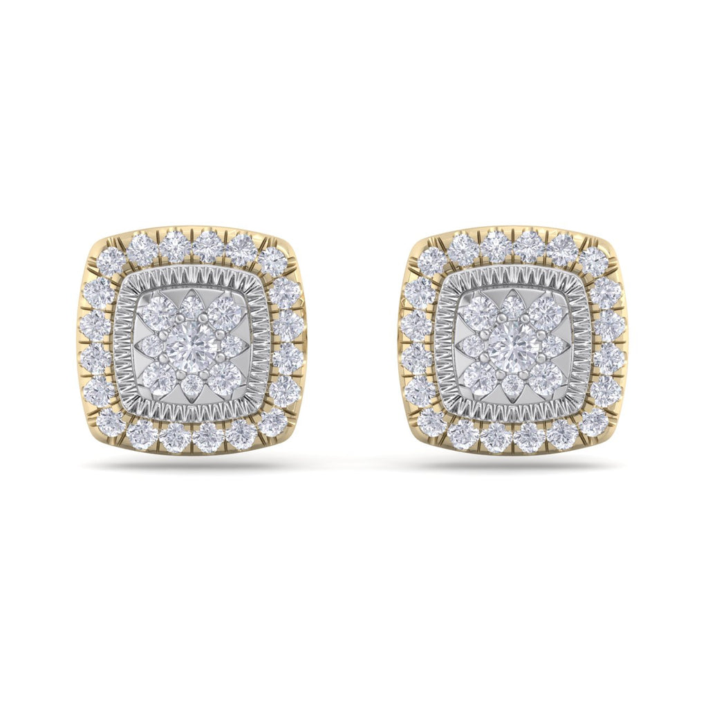 Square stud earrings in yellow gold with white diamonds of 0.84 ct in weight - HER DIAMONDS®