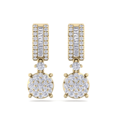 Earrings in yellow gold with white diamonds of 1.25 ct in weight - HER DIAMONDS®