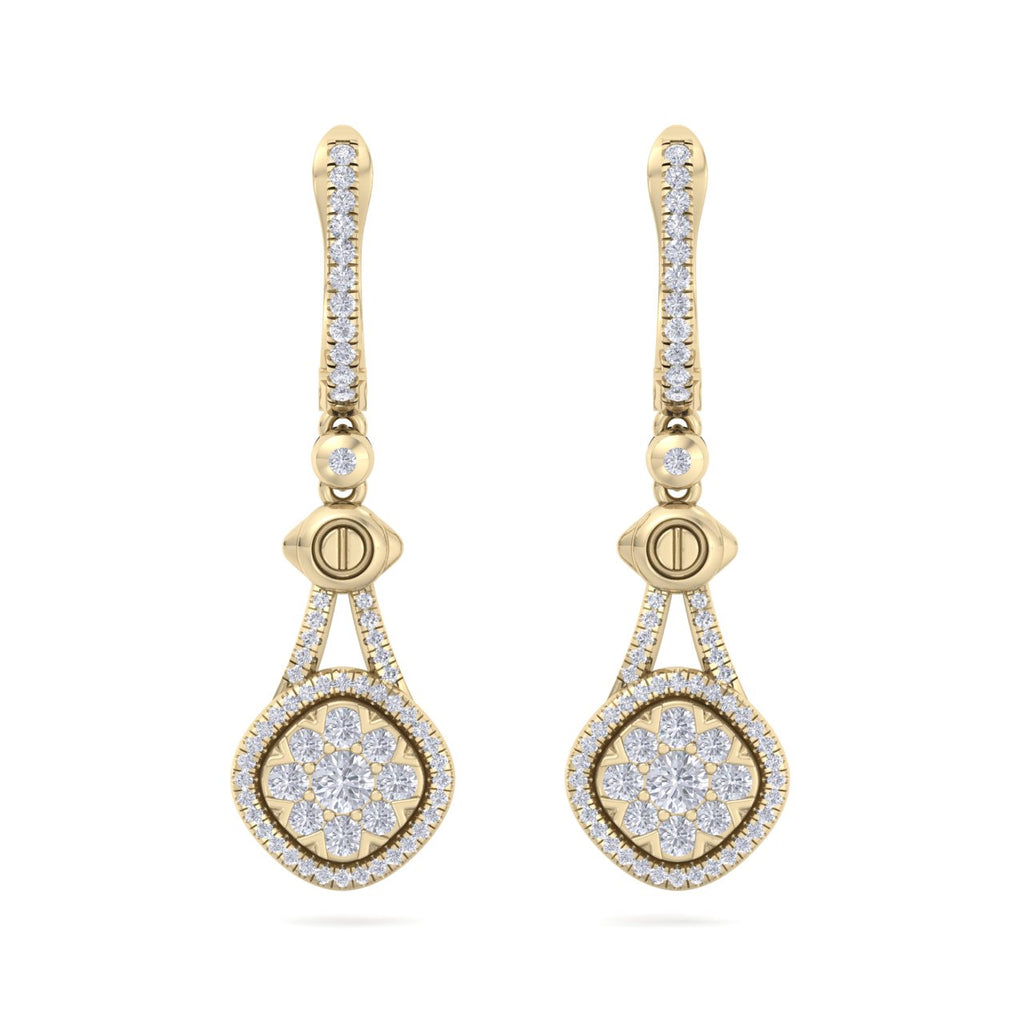 Drop earrings in yellow gold with white diamonds of 0.88 ct in weight - HER DIAMONDS®