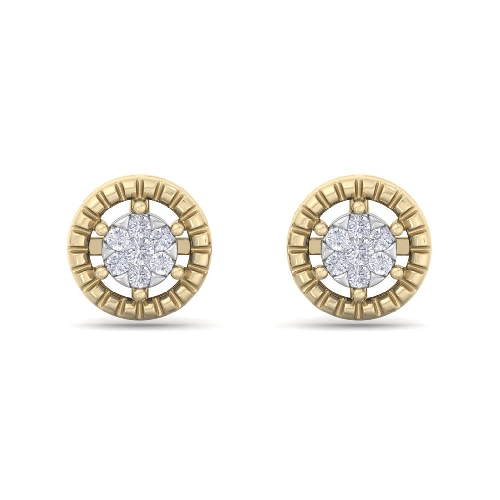 Classic round stud earrings in yellow gold with white diamonds of 0.48 ct in weight - HER DIAMONDS®