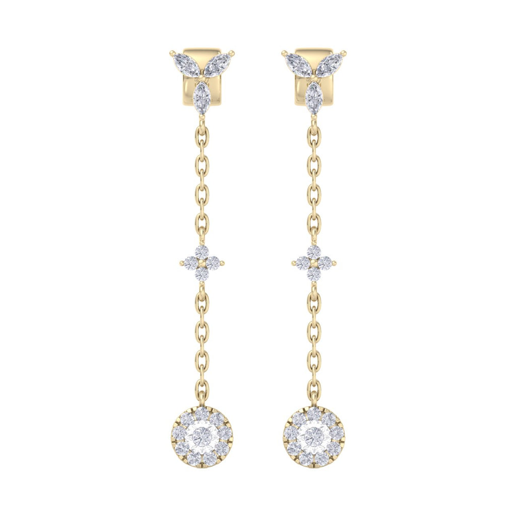 Drop earrings with miracle plate in yellow gold with white diamonds of 0.47 ct in weight