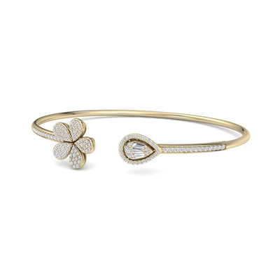 Bangle in yellow gold with white diamonds of 0.72 ct in weight - HER DIAMONDS®