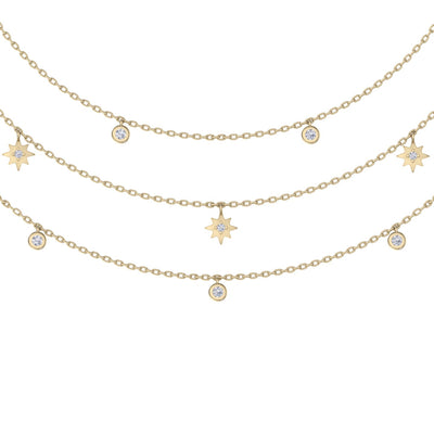 Multi-strand necklace with stars in yellow gold with white diamonds of 0.27 ct in weight - HER DIAMONDS®