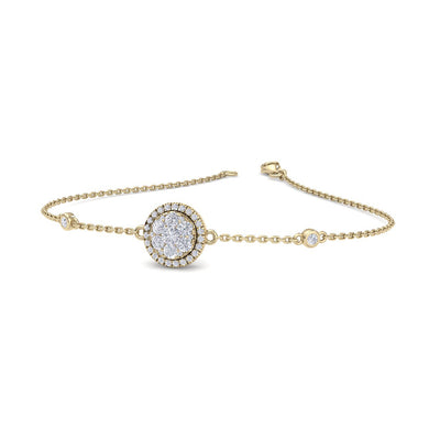 Round shape bracelet in yellow gold with white diamonds of 0.67 ct in weight - HER DIAMONDS®