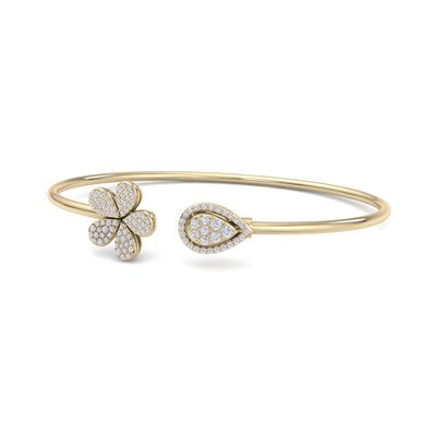 Bangle in yellow gold with white diamonds of 0.49 ct in weight - HER DIAMONDS®