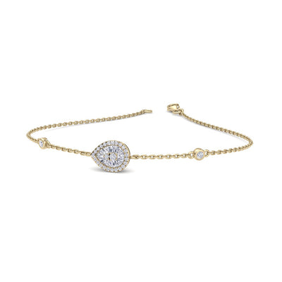 Pear shaped bracelet in yellow gold with white diamonds of 0.29 ct in weight - HER DIAMONDS®