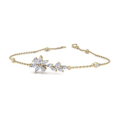 Flower bracelet in yellow gold with white diamonds of 0.97 ct in weight - HER DIAMONDS®