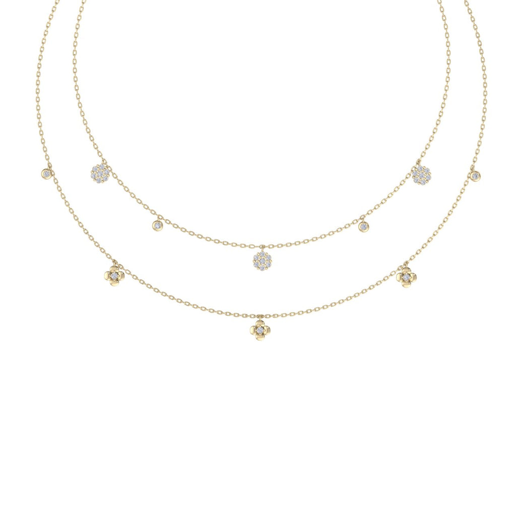 Multi-strand necklace in yellow gold with white diamonds of 0.50 ct in weight - HER DIAMONDS®