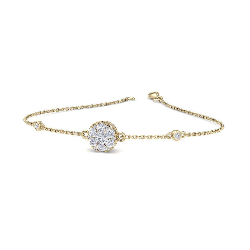 Round shape bracelet in yellow gold with diamonds of 0.42 ct in weight - HER DIAMONDS®