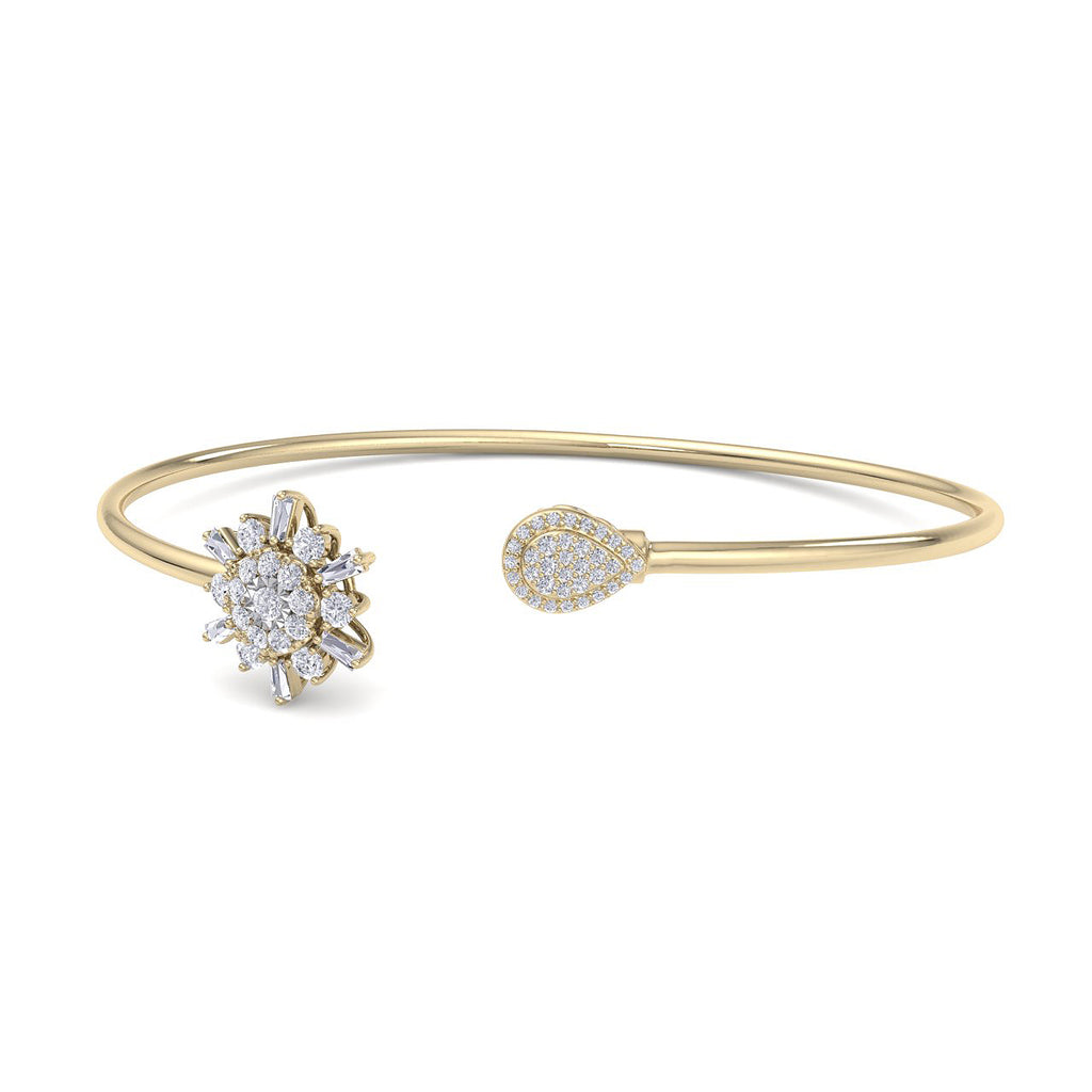 Snowflake shape bangle in yellow gold with white diamonds of 0.50 ct in weight - HER DIAMONDS®