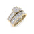 Bridal set in yellow gold with white diamonds of 0.86 ct in weight