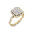 Square ring in rose gold with white diamonds of 0.60 ct in weight