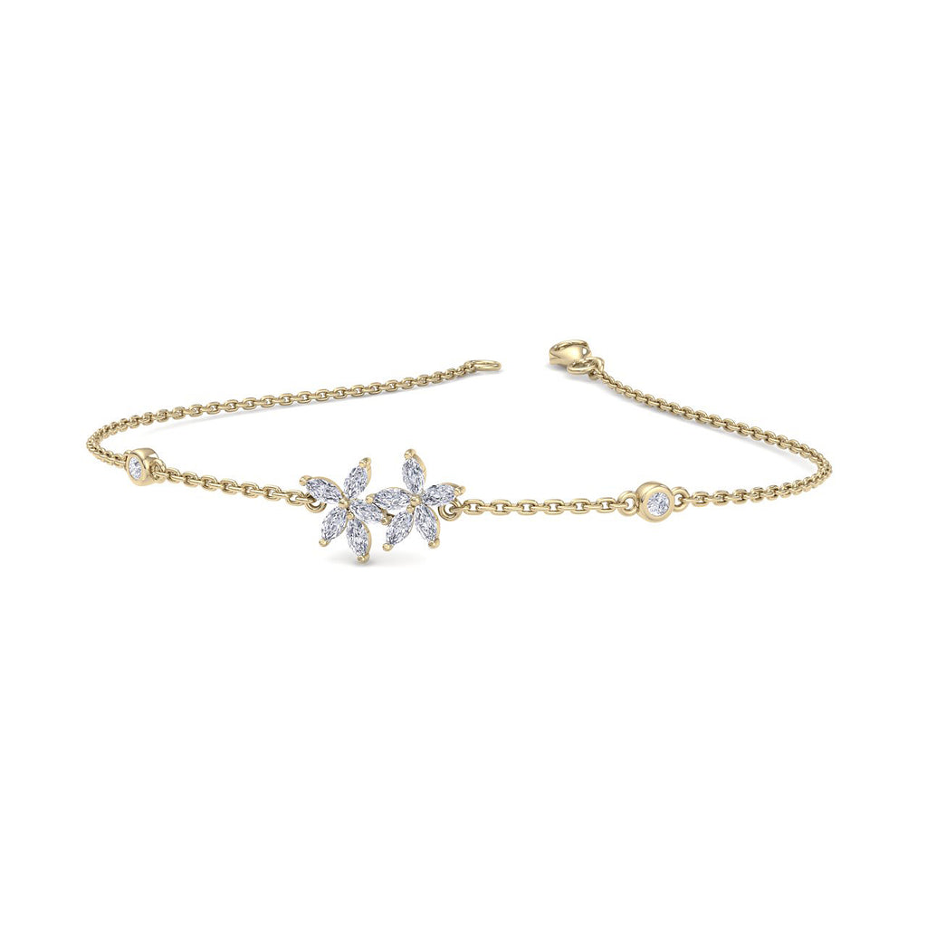 Two of a kind bracelet in yellow gold with white diamonds of 0.63 ct in weight - HER DIAMONDS®