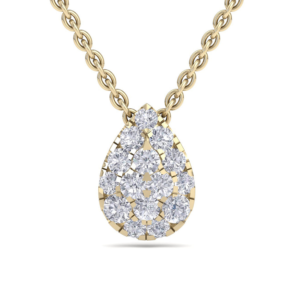 Drop shape necklace in yellow gold with white diamonds of 0.53 ct in weight - HER DIAMONDS®