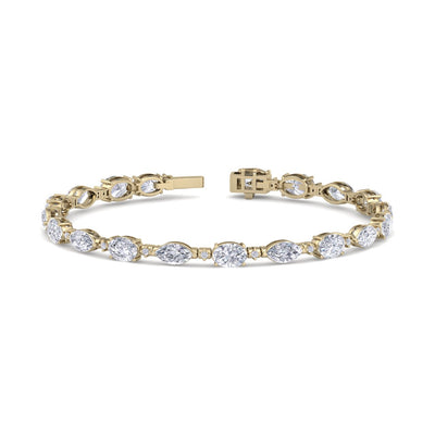 Marquise bracelet in yellow gold with white diamonds of 8.69 ct in weight - HER DIAMONDS®