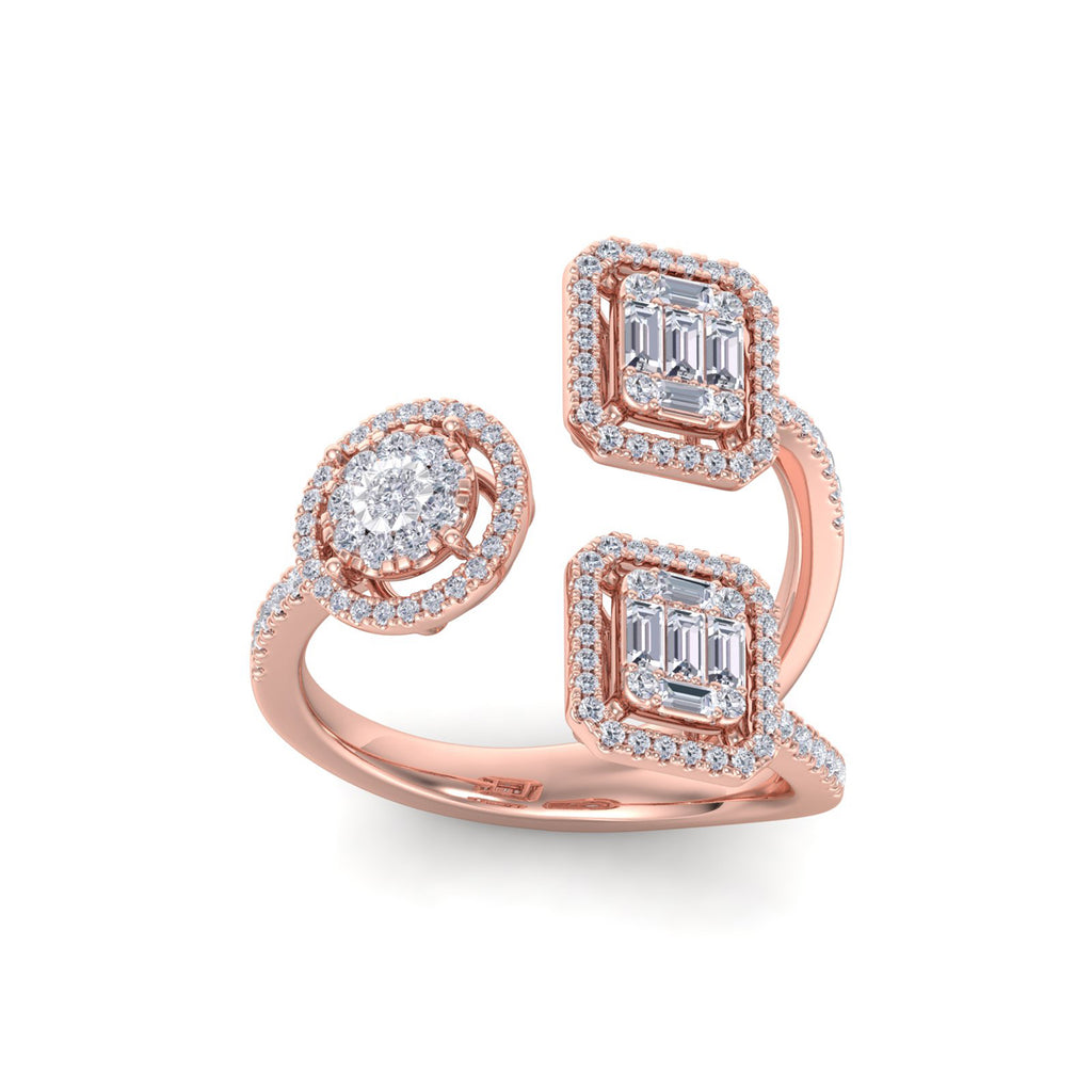 Ring in rose gold with white diamonds of 1.02 ct in weight