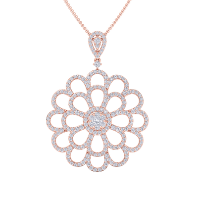 Flower Pendant in rose gold with white diamonds of 2.38 ct in weight
