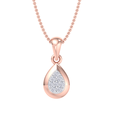 Cute Pendant in rose gold with white diamonds of 0.09 ct in weight