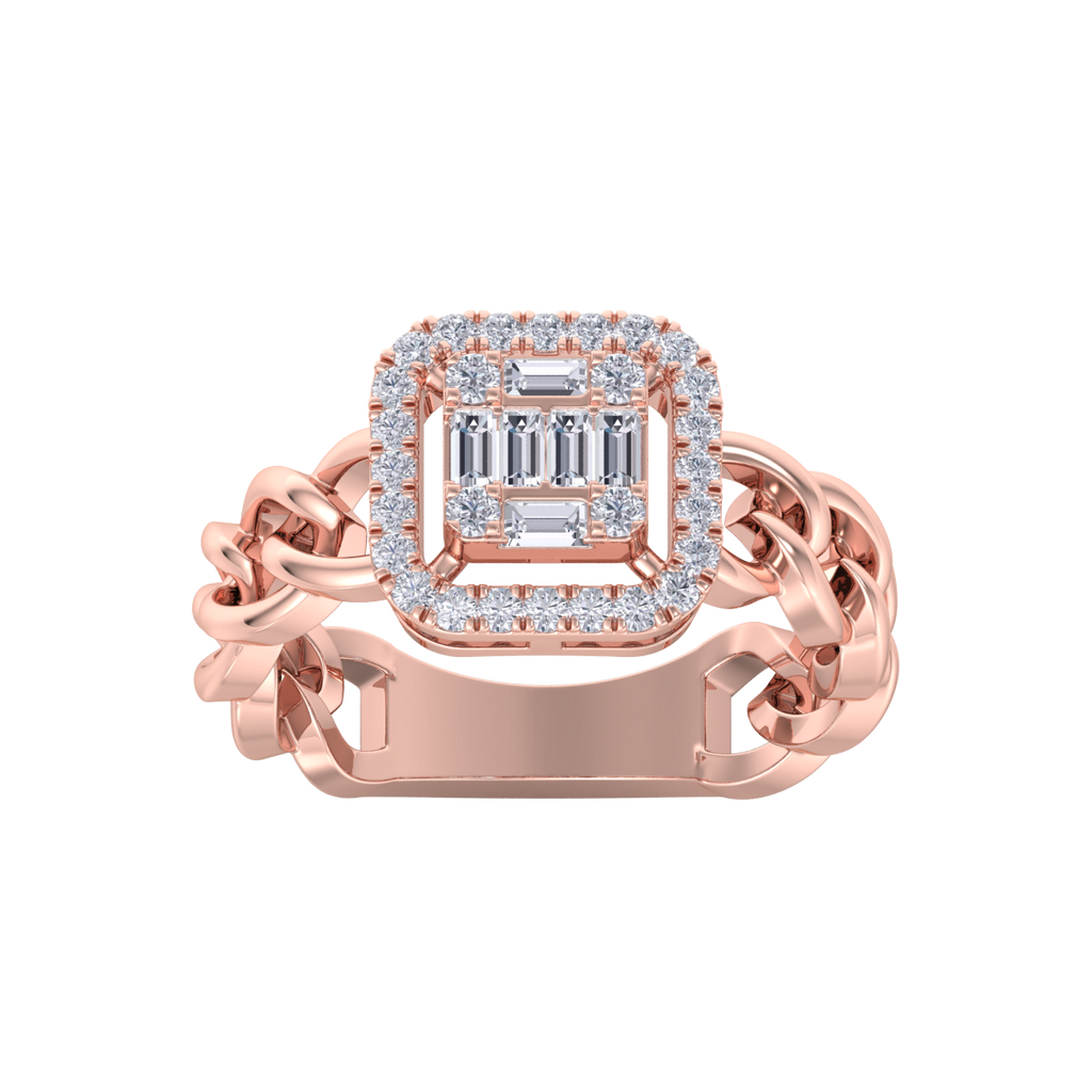 Statement Chain Ring in rose gold with white diamonds of 0.41 ct in weight