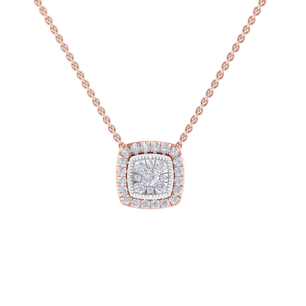 Square pendant in rose gold with white diamonds of 0.54 ct in weight