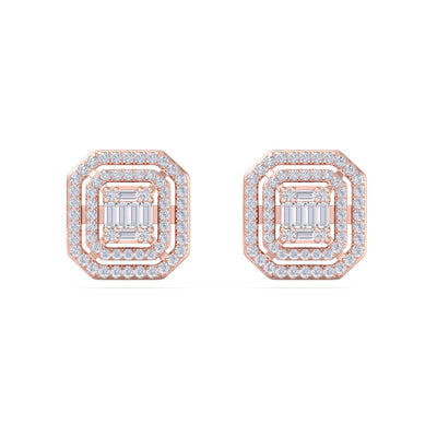 Square earrings in rose gold with white diamonds of 2.75 ct in weight