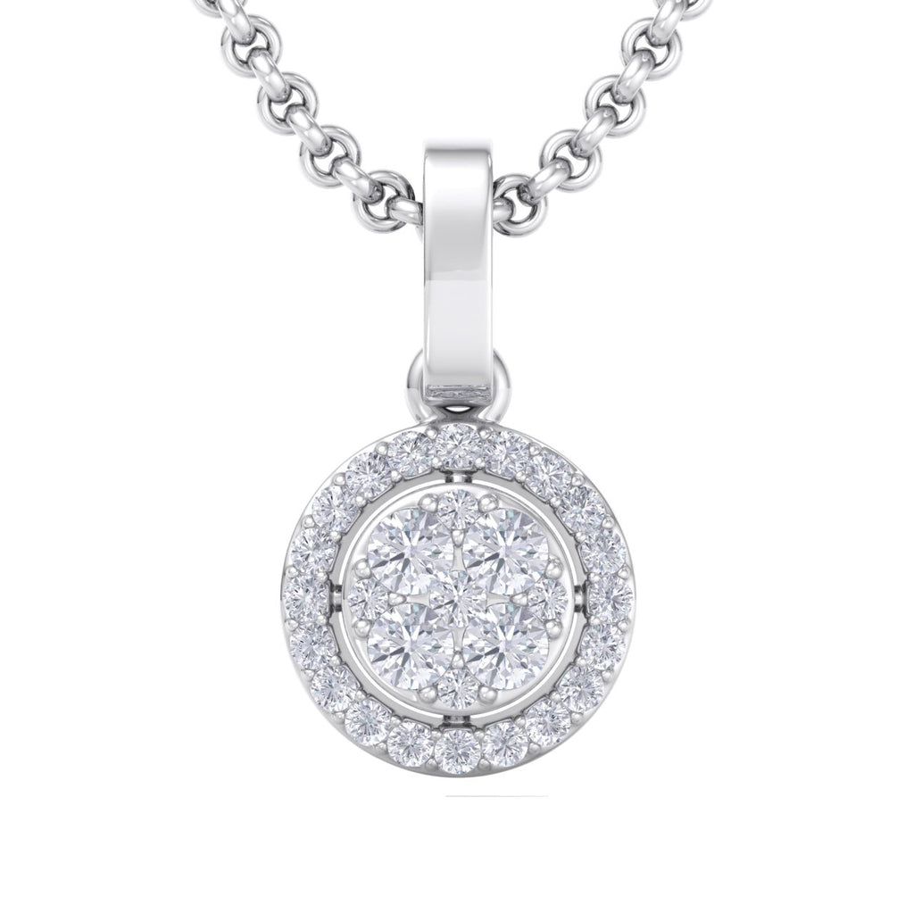 Halo pendant in white gold with white diamonds of 0.37 ct in weight