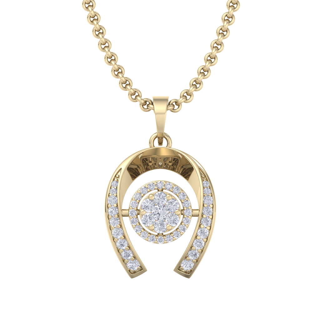 Halo Pendant in yellow gold with white diamonds of 0.26 ct in weight