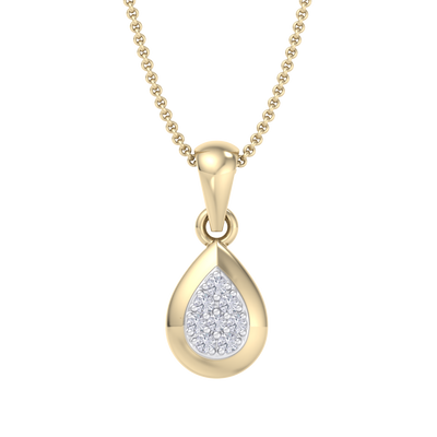 Cute Pendant in yellow gold with white diamonds of 0.09 ct in weight