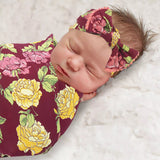 Baby Essentials Fall Floral Swaddle Blanket and Headband Set