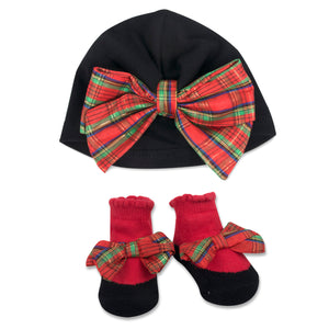 Baby Essentials Christmas Holiday Plaid Turban and Socks Set