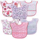 6 Pack Waterproof Baby Bibs with Food Catcher Pocket