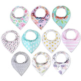 10 Pack Waterproof Baby Bandana Bibs with Snaps for Drooling and Teething