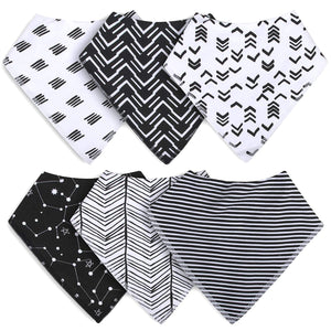 Waterproof Baby Bandana Bibs with Snaps for Drooling and Teething- 6 Pack