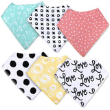 6 Pack Waterproof Baby Bandana Bibs with Snaps for Drooling and Teething