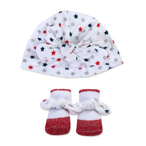 Baby Essentials Americana Turban Cap and Socks Set 0-6mo