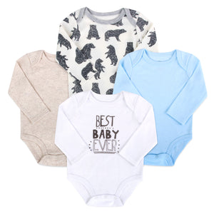 Baby Essentials Long Sleeve Creeper 4-Piece Set