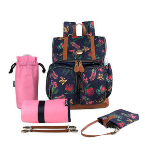 OiOi Floral Backpack Diaper Bag in Navy