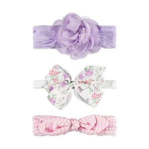 Baby Essentials Lilac Flower and Bow 3-Piece Headband Set 0-24mo