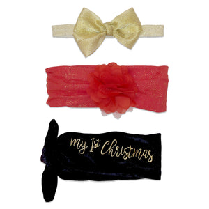 Baby Essentials 1st Christmas 3-Piece Headband Set 0-24m
