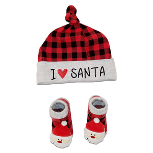 Baby Essentials Christmas I Love Santa Cap and Rattle Socks Set 0-6m